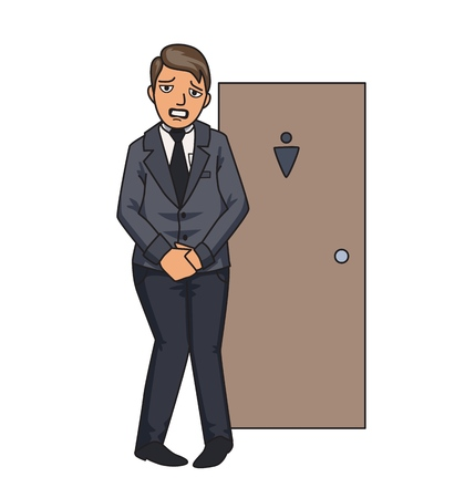 Businessman wanting to pee stands in front of a WC door. Isolated illustration on white backgroud. Cartoon vector image.