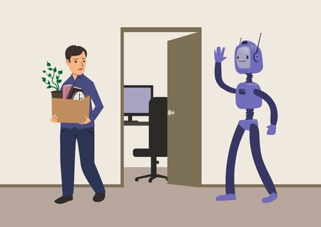 Office worker fired from his job replacement of jobs by robots with artificial intelligence. A man with a cardboard box leaves workplace. Unemployment concept vector illustration.