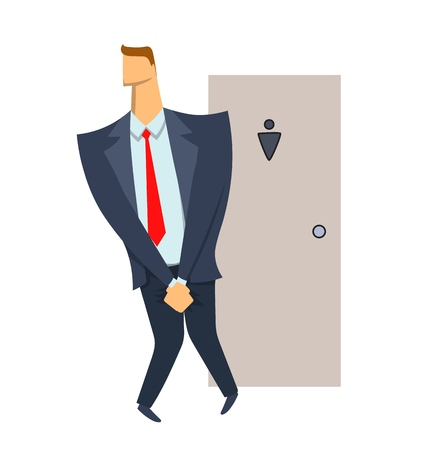 Stressed man. Businessman wanting to pee stands in front of a WC door. Isolated illustration on white backgroud. Cartoon vector image.