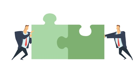 Two businessmen pushing the pieces of puzzles. The concept of joint problem solving, teamwork, cooperation. Vector illustration, isolated on white background.