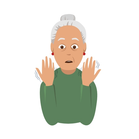 Tremor hands. An elderly woman looking at the shaking hands. Symptom of Parkinsons disease. Medical vector illustration.