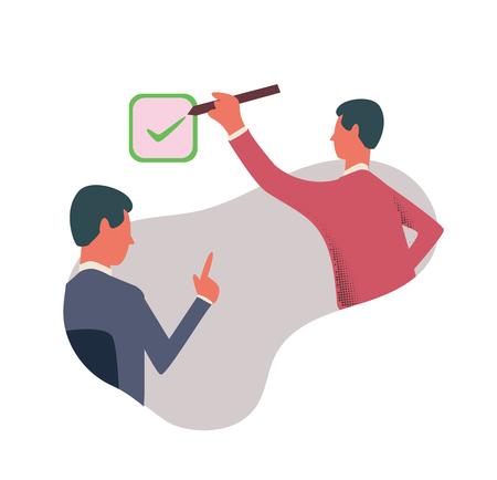 Una persona mette un segno di spunta nella casella. Il simbolo del consenso. Illustrazione vettoriale di concetto, isolato su sfondo bianco. Vettoriali