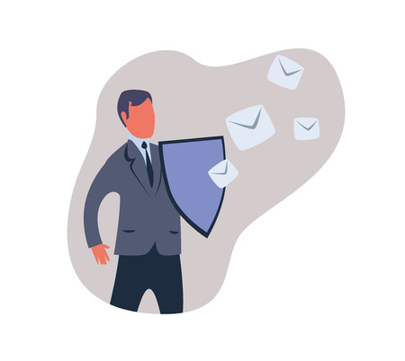 Spam filter, male shield off unwanted advertising messages. Concept vector illustration in abstract flat style, isolated on white background. Vectores