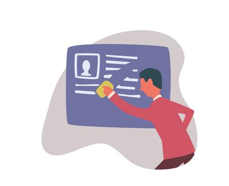 Diritto all'oblio in Internet. Un uomo cancella le informazioni su se stesso. Illustrazione vettoriale di concetto, isolato su sfondo bianco.