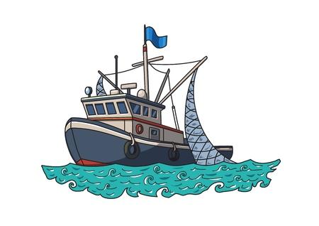 Łódź rybacka na morzu. Ilustracja wektorowa, izolowana na białym tle.