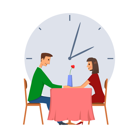 Speed dating, concept vector illustration, isolated on white background. Young man and woman on a date. Ilustração