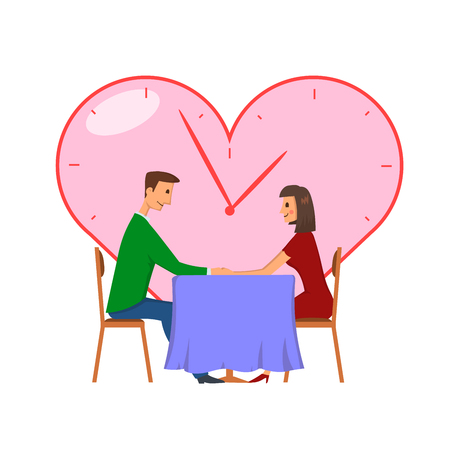 Speed dating, concept vector illustration, isolated on white background. Young man and woman on a date. Çizim
