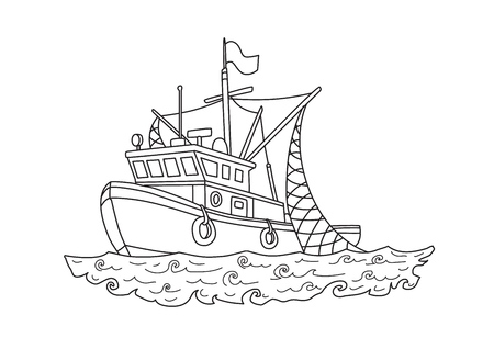 Fishing boat in the sea. Contour vector illustration for coloring book, isolated on white background.