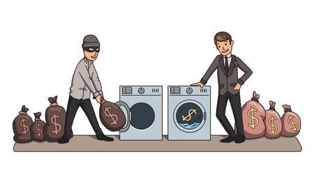 Lavado de dinero. El criminal y el empresario lavando dinero en las máquinas. Ilustración de vector de concepto