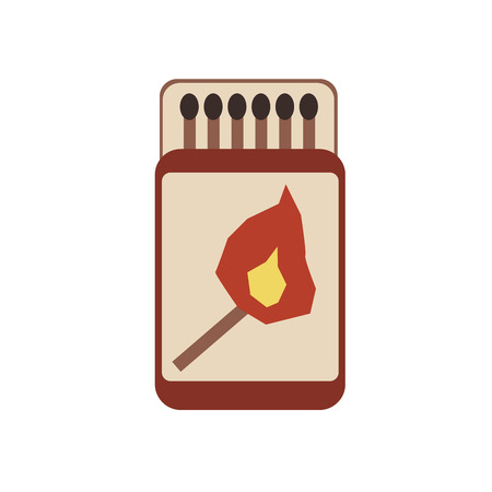 Box of matches. Vector illustration, isolated on white background.