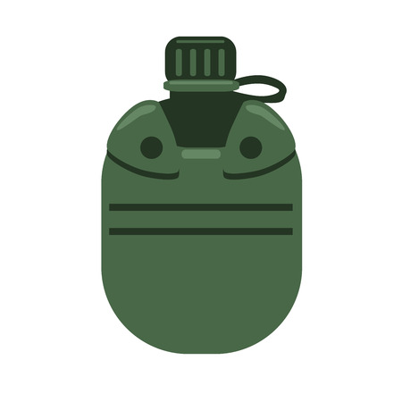 Soldier water can bottle, travel flask. Vector illustration in flat style, isolated on white background.