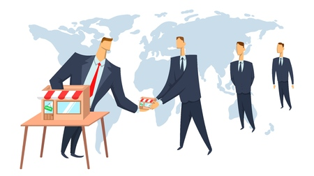 Franchise, concept vector illustration. The franchisor giving the business to its franchisees. Scaling of business. Illustration