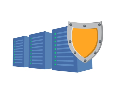 GDPR, RGPD, DSGVO concept illustration. General Data Protection Regulation. The protection of personal data. Servers and security shield, isolated on white background.