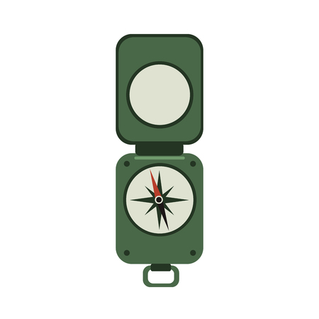 Green military compass. Travelers army style compass with the lid. Vector flat icon illustration, isolated on white background.