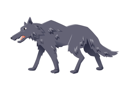 Gray angry wolf walking. Vector flat illustration, isolated on white background.