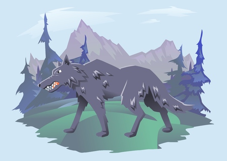 Gray angry wolf walking on the mountain landscape. Vector horizontal flat illustration on cyan background.