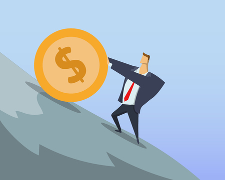 Entrepreneur in office suit pushing big dollar coin up the steep hill. Sisyphean labour. Sisyphean business. Achieving goals. Race for success. Concept flat vector illustration. Horizontal.