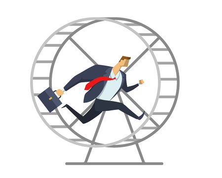 Businessman in office suit running in a wheel like a hamster. Running in place. Hurry up. Race for success. Concept vector illustration, isolated on white background. Illustration