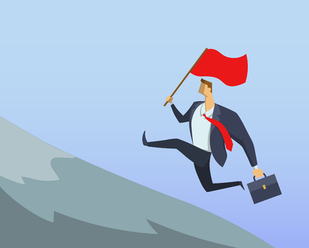 Businessman in office suit running fast up the hillside with the flag in his hand. Achieving goals. Race for success. Hurry up. Concept flat vector illustration. Horizontal.