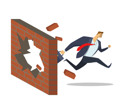Businessman in office suit breaks down the wall as he runs to his goals. Achieving goals. Race for success. Hurry up. Concept flat vector illustration, isolated on white background. Illustration