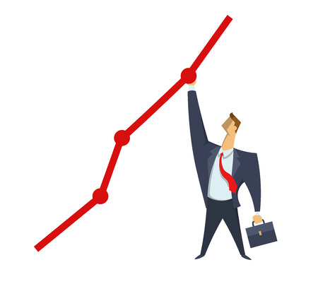 Businessman in office suit reaching out to the highest point on the graph. Achieving goals. Race for success. Concept flat vector illustration, isolated on white background.