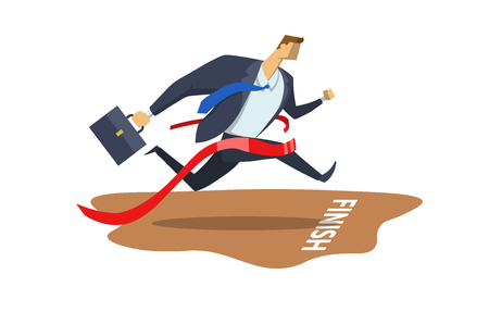 Businessman in office suit crossing finish line with red ribbon. Achieving goals. Race for success. Hurry up. Concept vector flat illustration, isolated on white background.