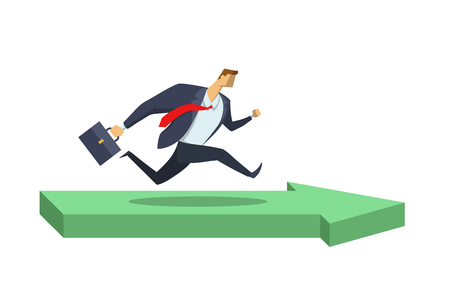Businessman in office suit running in direction pointed with green arrow. Goals and achievements. Race for success. Hurry up. Concept flat vector illustration, isolated on white background.