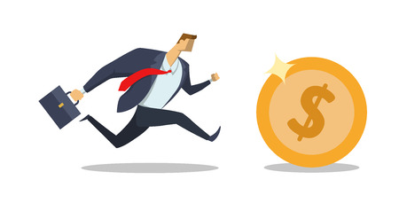 Businessman in office suit running after big dollar coin. Race for success. Hurry up. Making money. Concept flat vector illustration, isolated on white background.