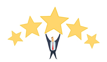 Businessman in office suit holding big star above his head. Achieving goals. Rating. Benchmarking. Race for success. Concept flat vector illustration, isolated on white background.