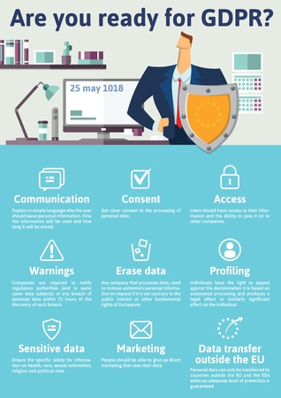 GDPR concept, illustration. General Data Protection Regulation. Stock Illustratie