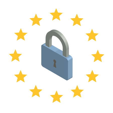 GDPR, concept isometric illustration. General Data Protection Regulation. The protection of personal data. Vector emblem , isolated on white background. Illustration