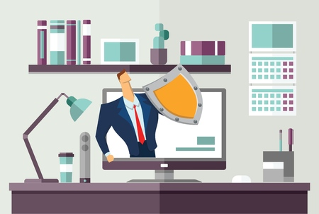 Man in business suit with a shield protecting computer on office desk. Protecting your personal data. GDPR, RGPD. General Data Protection Regulation. Concept flat vector illustration. Horizontal. Vectores
