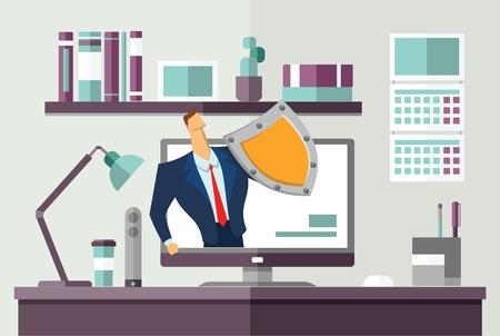 Hombre en traje de negocios con un escudo que protege la computadora en el escritorio de oficina. Protección de sus datos personales. GDPR, RGPD. Reglamento general de protección de datos. Ilustración de vector plano de concepto. Horizontal.