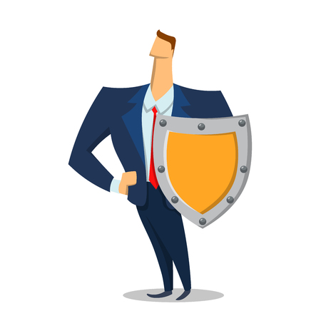 Man in business suit with a shield looking forward, security and protection. Protecting your personal data, general data protection regulation. Concept flat vector illustration flat style.