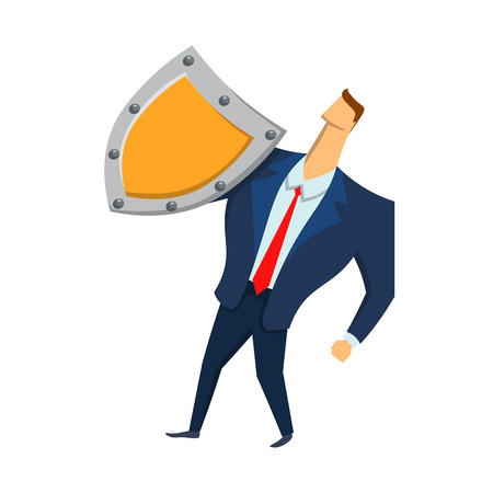 Man in business suit with a shield looking up. Security and protection. Protecting your personal data. GDPR, RGPD, DSGVO. General Data Protection Regulation. Concept vector illustration. Isolated.