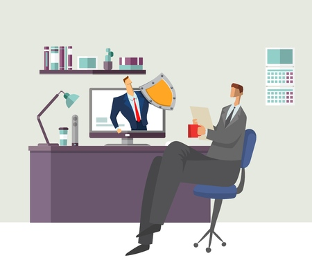 Man in office reading document with shielded man protecting his computer. Protecting your personal data. GDPR, RGPD. General Data Protection Regulation. Concept flat vector illustration. Horizontal. 向量圖像