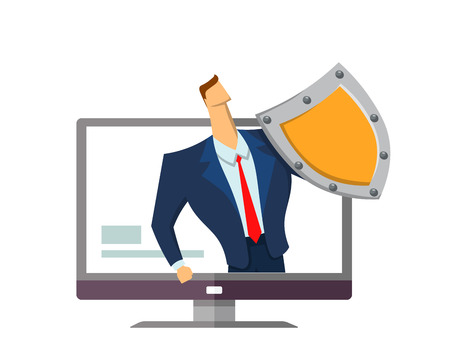 Man in business suit with a shield standing out from computer monitor. Protecting your personal data. GDPR, RGPD, DSGVO. General Data Protection Regulation. Concept vector illustration. Flat style.