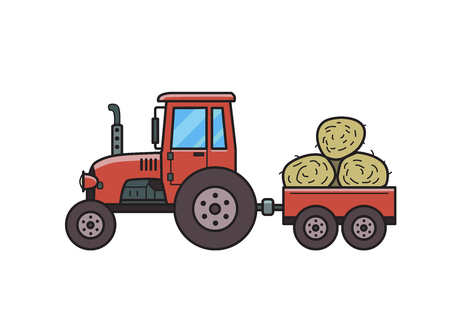 Red tractor with trolley full of hay bales. Farm vehicle. Isolated image on white background. Vector illustration. Flat style. Ilustração
