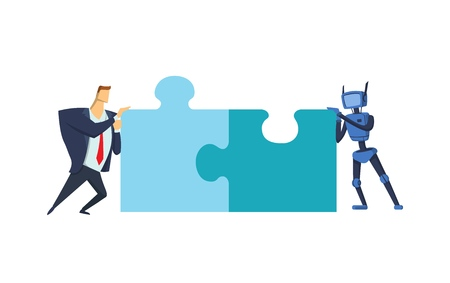 Businessman and blue robot putting puzzle together. Artificial comunication. Business and AI. Concept vector illustration, flat style. Isolated on white background, horizontal.