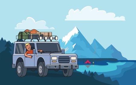 SUV car with luggage on the roof and smiling guy behind the wheel on mountain peak landscape. Off-road vehicle and camping by the mountain lake. Vector illustration. Flat style. Horizontal. Stock Illustratie
