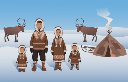 Eskimo family in traditional outfit standing by inuit hut. Eskimos and deer on snowy Northern landscape. Flat vector illustration.