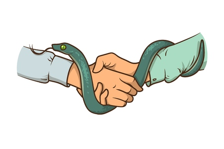 Handshake with a snake. Snake handshake. Green snake, two hands. Metaphor, symbol.
