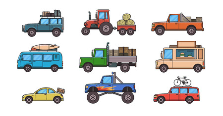 Colorful cars and trucks. Illustration
