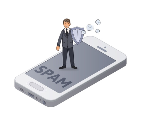 Man in busimess suit with a shield protecting smartphone from spam and unwanted mail. Concept isometric vector illustration. Isolated on white background.