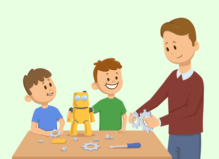 Happy kids and a man making yellow toy robot together. Man assembling a robot for the children. Cartoon vector illustration. Flat style. Isolated on light background. Stock Illustratie