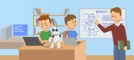 Happy kids in classroom studying robotics, science. Teacher explaining robot mechanics to the students in front of a robot scheme. Cartoon vector illustration. Flat style. Horizontal. Stock Illustratie