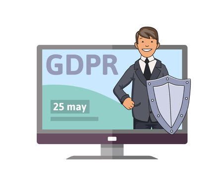 GDPR initiation date. Smiling man in suit with the shield standing out from computer monitor. Concept vector illustration. Flat style. Isolated on white background. Иллюстрация