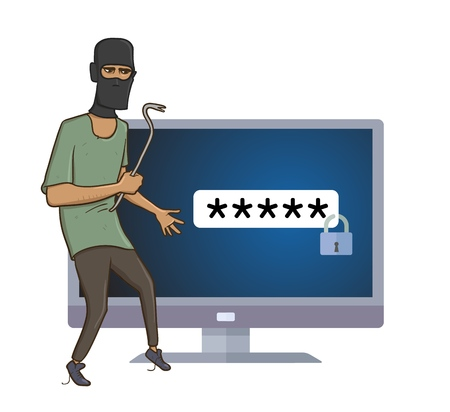 Masked robber with a puller trying to hack a computer vector illustration