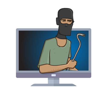 Masked burglar with a pry bar standing out from computer monitor. Robber with the puller in your computer, internet security and hackers. Comic vector illustration isolated on white background.