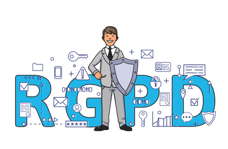 Smiling man with a shield among digital and internet symbols in front of RGPD letters. General Data Protection Regulation. GDPR, RGPD, DSGVO, DPO. Concept vector illustration.